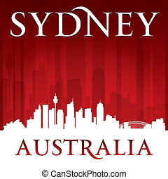 Sydney Australia city skyline silhouette red background