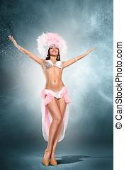 Beautiful dancer - Beautiful young samba dancer in pink...