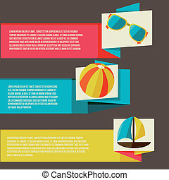 Collection of banners with summer design elements -...