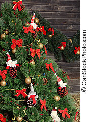Christmas fur-tree in a rural interior - The christmas...