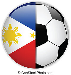 Philippines Flag with Soccer Ball Background - Vector -...