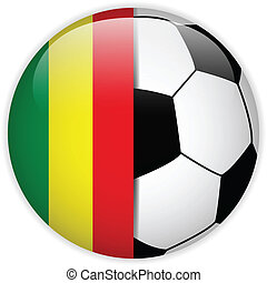 Mali Flag with Soccer Ball Background
