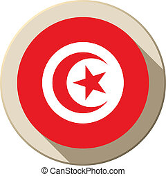 Tunisia Flag Button Icon Modern