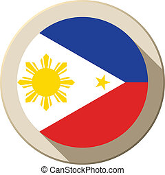 Philippines Flag Button Icon Modern - Vector - Philippines...