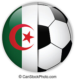 Algeria Flag with Soccer Ball Background - Vector - Algeria...