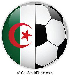 Algeria Flag with Soccer Ball Background - Vector - Algeria...