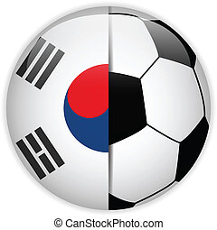 South Korea Flag with Soccer Ball Background