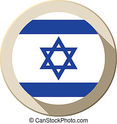 Israel Flag Button Icon Modern - Vector - Israel Flag Button...
