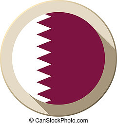 Qatar Flag Button Icon Modern - Vector - Qatar Flag Button...