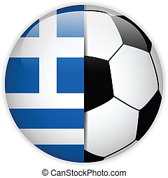Greece Flag with Soccer Ball Background