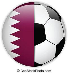 Qatar Flag with Soccer Ball Background - Vector - Qatar Flag...