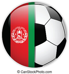 Afghanistan Flag with Soccer Ball Background - Vector -...