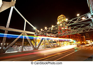 Historic bridge of night - Historic steel jiefang-bridge at...