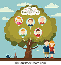 The Family tree of young couple illustration with flat...