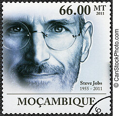 MOZAMBIQUE - 2011: shows portrait of Steve Jobs 1955-2011 -...