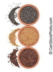 Linseed and Chia Seeds - Brown and golden linseed flax and...