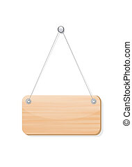Blank wooden label board hanging from a nail by string on white