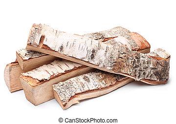 Birch firewood on white background