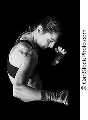 mujer, kickboxer