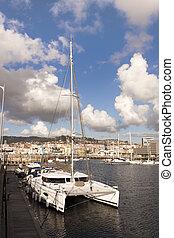 Catamaran in Vigo port. - Catamaran moored in the port of...