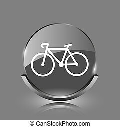 Bicycle icon. Shiny glossy internet button on grey...