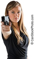 Femme fatale pointing gun at camera
