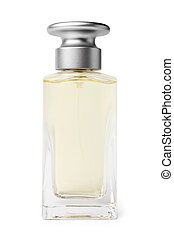 Bottle of perfume on white background