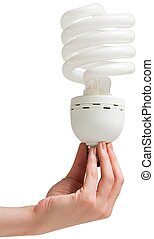Hand holding energy efficient light bulb on white background