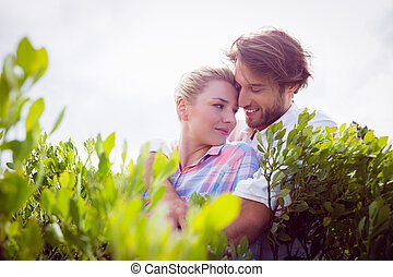 Smiling couple embracing outside among the bushes on a sunny...