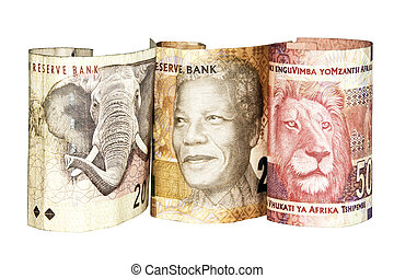 Trois, sud, africaine, banque, notes, projection,...