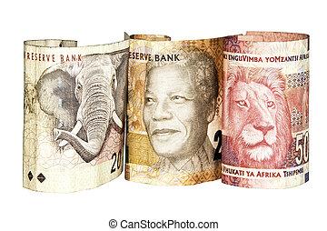 três, SUL, africano, banco, notas, mostrando,...