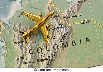 Plane Over Colombia. Map is royalty free off of a government...