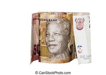 SUL, africano, banco, notas, mostrando, Nelson, Mandela