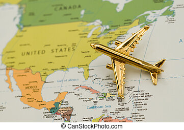 Map Over North America - Golden Plane Over North America Map...