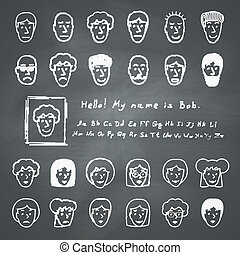 Sketchnote Avatars - Hand drawn sketchnote faces. Vector...