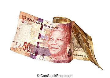 Nelson, Mandela, Cinqüenta, rand, SUL, africano, banco, nota
