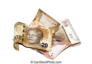 Four South African Bank Notes with Nelson Mandela - four...
