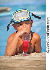 Boy with a mask for snorkeling