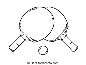 two ping pong rackets - vector, two ping pong rackets and...