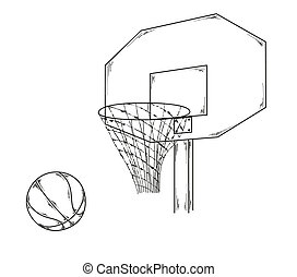 basketball - vector of the basketball, ball, net, sketch