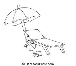 parasol flops, ball and chair - vector, parasol flops, ball...