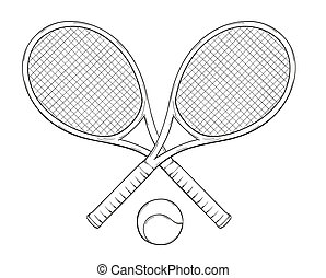 two tenis rackets and ball - vector, two tenis rackets and...