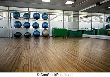 Large empty fitness studio with shelf of exercise balls at...