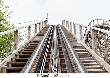 Large wooden rollercoaster - Close view on the construction...