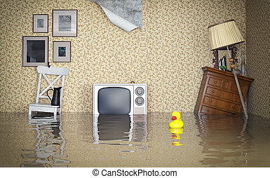 Flooded interior - Flooded vintage interior 3d concept