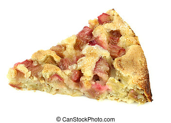 Rhubarb pie isolated on white background