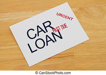Car Loan Payment Past Due envelop with past due and urgent...