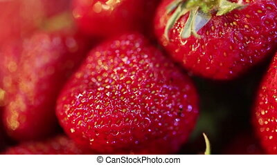 Strawberries - Festive buffet with ripe strawberries macro