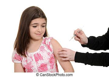 espantado, niño, obteniendo, inmunización