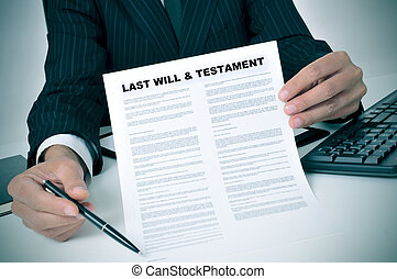 last will and testament - man in suit showing where the...